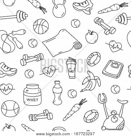Seamless pattern with isolated fitness doodles. Hand drawn tillable background for fabric, textile, wrapping paper. Sketchy gym equipment sneaker, dumbbell, mat, scales, barbell, cycle shaker balls