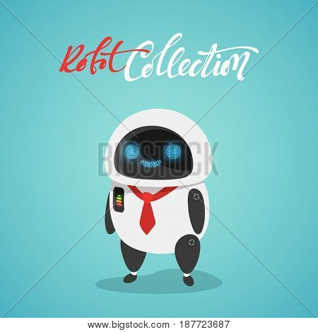 Character cute in flat style. Funny cartoon robot.