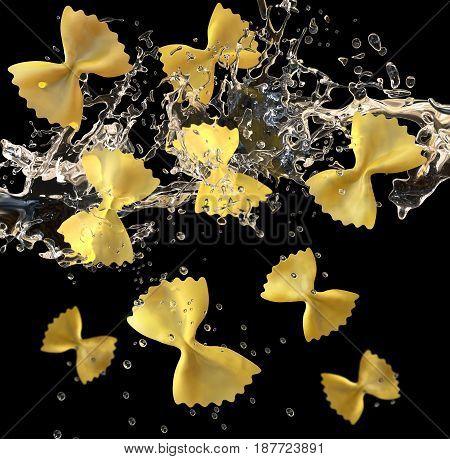 Italian butterfly pasta falling in boiling water