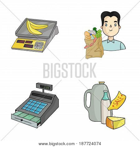 Package, scales, banana, fruit .Supermarket set collection icons in cartoon style vector symbol stock illustration .