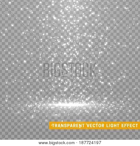 Glowing glitter light effects isolated realistic. Christmas decoration design element. Sunlight lens flare. Shining elements and stars. White and gray texture. Transparent vector particles background.