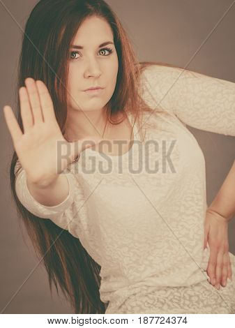 Angry Apodicticity Woman Showing Stop With Hand