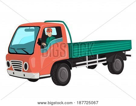 Truck with driver. Isolated on white background