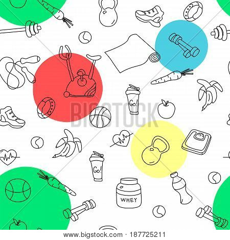 Seamless pattern with colorful spots and fitness doodles. Hand drawn tillable background. Sketchy gym equipment for workout and training sneaker, dumbbell, mat, cycle, shaker, balls, healthy food
