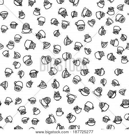 Owls Hand Drawn Pattern