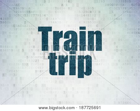 Tourism concept: Painted blue word Train Trip on Digital Data Paper background