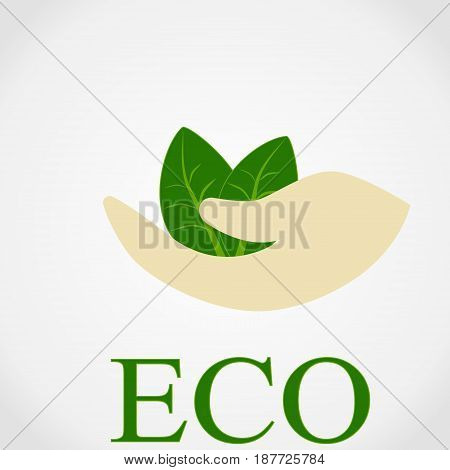 Illustration of human hand holding green small tree. Image for booklets, banners, flayers,