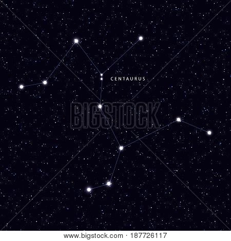 Sky Map with the name of the stars and constellations. Astronomical symbol constellation Centaurus