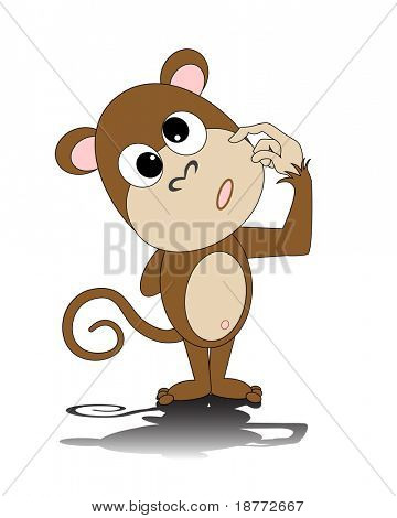 vector illustration of a dorky monkey