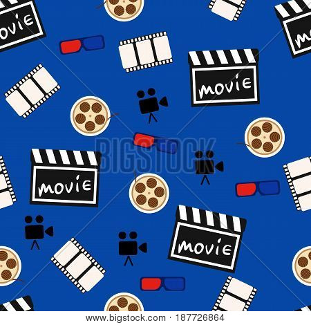 Movie abstract seamless pattern, movie background. Vector illustration