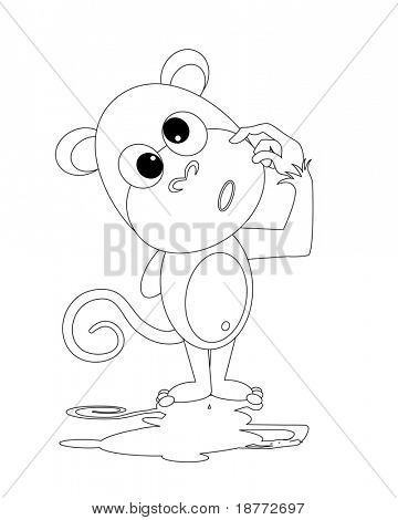 vector outline of a dorky monkey
