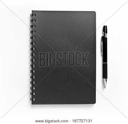 Black notebook and pen isolated on white background identity design corporate templates company style set of office stationery