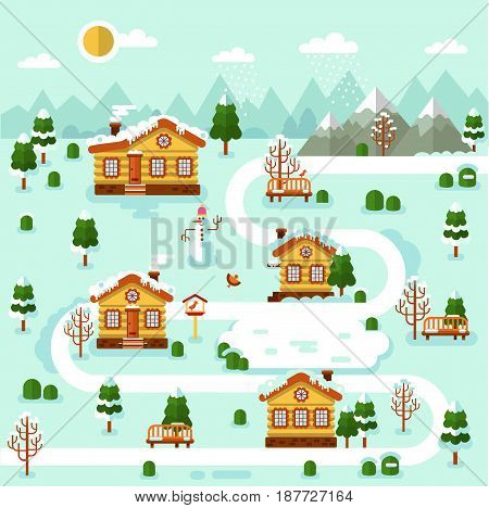 Flat design vector winter illustration of mountain village map. Included cartoon houses with icicles, rink, road, snowman, bench, birds feeder. Rest in the countryside.