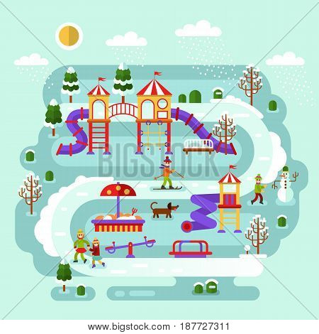 Flat design winter nature landscape of kids playground. Infographics of winter entertainment for children. Vector illustration with snowman, skier, ice skaters girls, sandbox, ladder, swing.