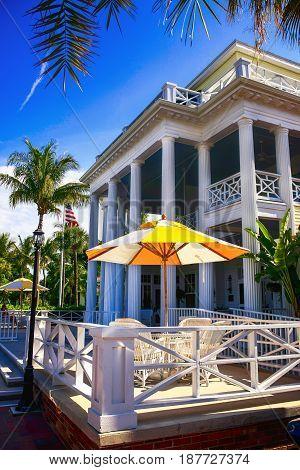 Gasparilla Island, FL, USA - 05/15/2016: The front patio and entrance of the Gasparilla Inn & Club Boca Grande on Gasparilla Island Florida