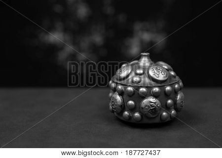 Small metal casket for storing Sindur. Traditionally used in Hinduism