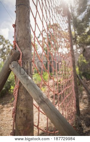 Close-up of net during obstacle course in boot camp