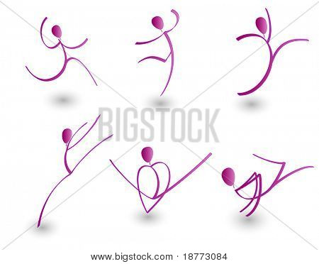 vector illustration of figures in motion
