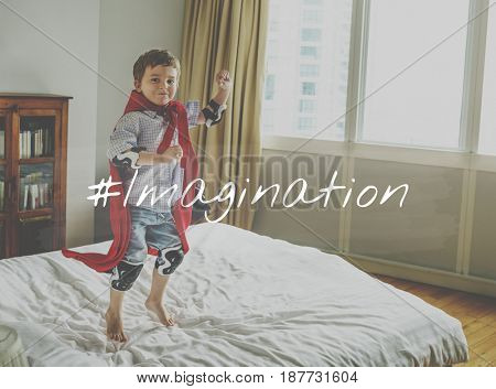 Little Kid with Imagination Word Graphic Hashtag