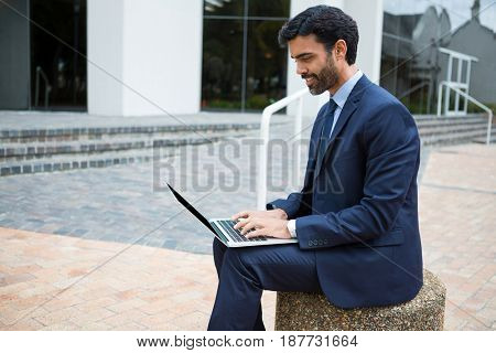 Smiling businessman using laptop in the office premises