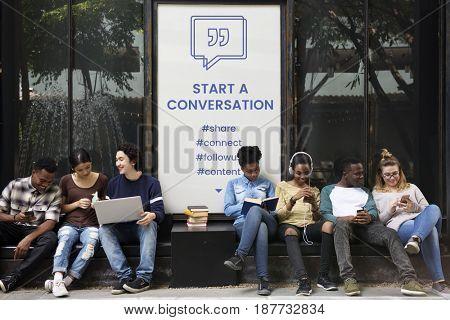 Start a Conversation Speech Bubble with Quotation Mark