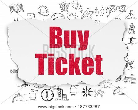 Tourism concept: Painted red text Buy Ticket on Torn Paper background with  Hand Drawn Vacation Icons