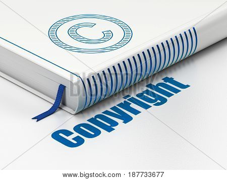 Law concept: closed book with Blue Copyright icon and text Copyright on floor, white background, 3D rendering