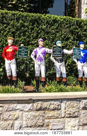 Lexington, KY, USA - 09/14/2016: Colors of Past Stakes winners at Keeneland racecourse in Lexington Kentucky