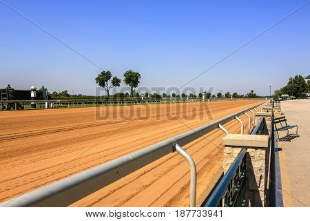 Lexington, KY, USA - 09/14/2016: The newly prepared racetrack at Keeneland racecourse in Lexington Kentucky