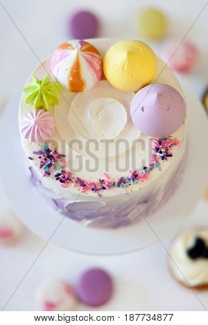 cute sweet cake on white