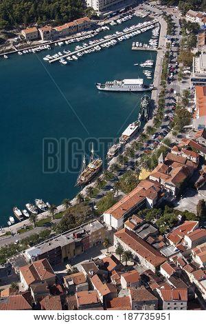 Adriatic town Makarska in Croatia aerial view on harbor and coast