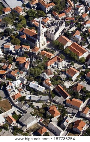 Selca biggest village on east side of island Brac in Croatia
