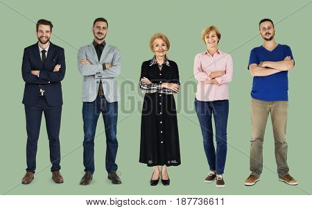 Set of Diversity Adult People Gesture Lifestyle Studio Portrait