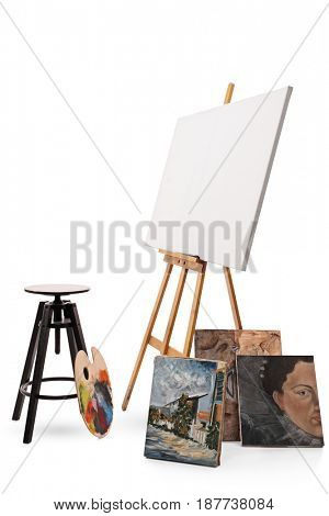 Chair, palette, canvas and paintings isolated on white background
