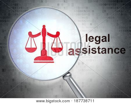 Law concept: magnifying optical glass with Scales icon and Legal Assistance word on digital background, 3D rendering