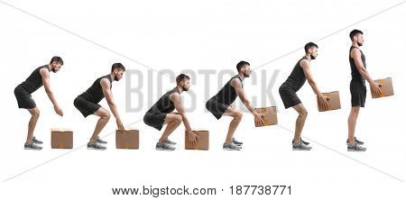 Rehabilitation concept. Collage of man with good posture lifting heavy cardboard box on white background