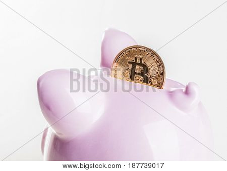 classic pink piggybank and golden bitcoin