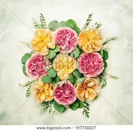 Festive flower composition . Overhead view
