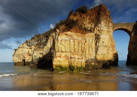View to Estudantes beach in Lagos, Algarve, Portugal
