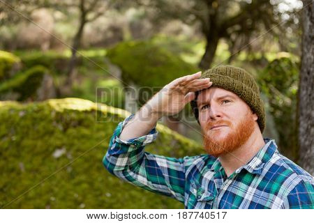 Red haired with beard looks for something in the forest