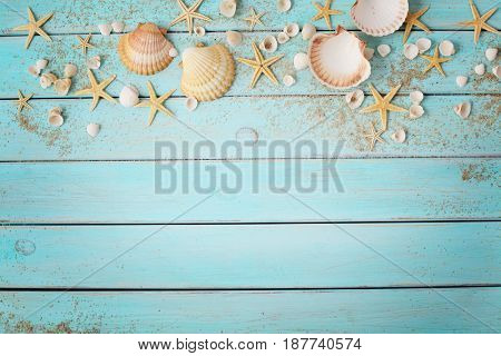 summer background. seashells border  on wooden background