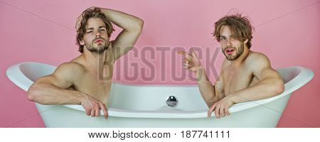 gay men or unshaven caucasian macho twins with stylish hair naked sexy muscular torso sitting in white bath tub on pink background love and relations spa and hygiene homosexual