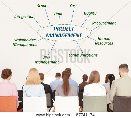 Project management concept. People on business training in office
