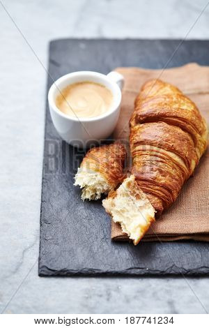 Cup of Espresso with Croissant