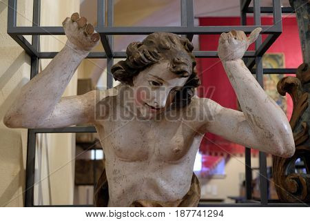 ZAGREB, CROATIA - FEBRUARY 15: Angel, support organ from St. Mark's Church was removed during the restoration of the church, Zagreb, Croatia on February 15, 2015.