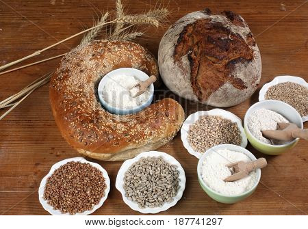 ZAGREB, CROATIA - SEPTEMBER 21: Ingredients for baking on kitchen table, Zagreb, Croatia on September 21, 2016.
