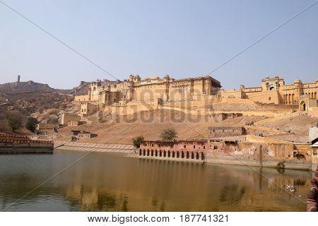 JAIPUR, INDIA - FEBRUARY 16: Amber Fort in Jaipur, Rajasthan, India, on February, 16, 2016.
