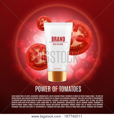 Cosmetic ads template. Skin care cosmetic cream. Moisturizing cream based tomatoes. Vector illustration for cosmetic ads or magazine. EPS10 vector
