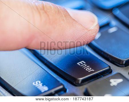Using keyboard. Closeup view of keyboard. Social ussue.