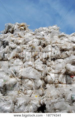 Plastic sacks on a recyling site